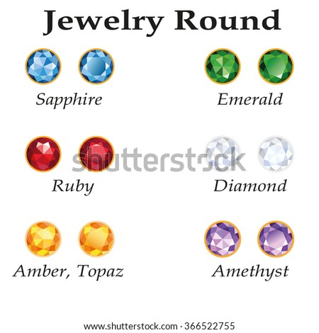 Jewelery set with round cut - diamond, emerald, sapphire, ruby, amethyst, topaz and amber on white background. - stock photo