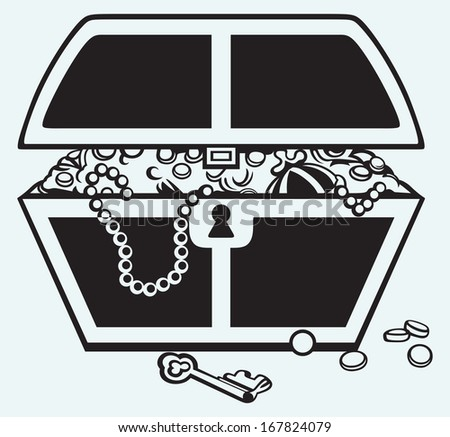 Jewellery and a box isolated on blue background. Raster version - stock photo