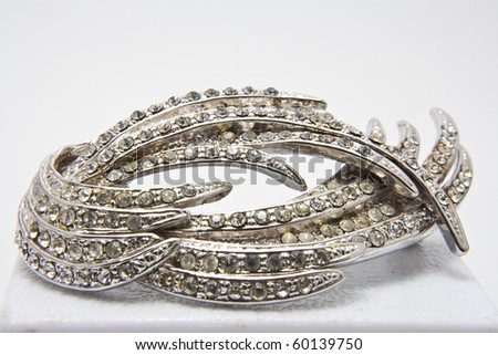 jewellery brooch isolated on white background - stock photo