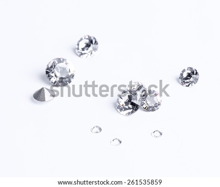 Jewellery. Few crystals on a white background - stock photo