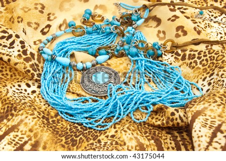 Jewellery from turquoise: medallion,necklace,beads - stock photo