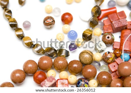 Jewellery making on a white background - stock photo