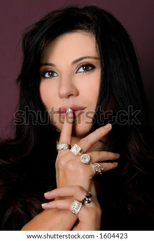 Jewellery of  distinction or Diamonds are a girls best frined.   Advertising jewellery, diamonds,  fashion accessories, beauty or secrets of success. - stock photo