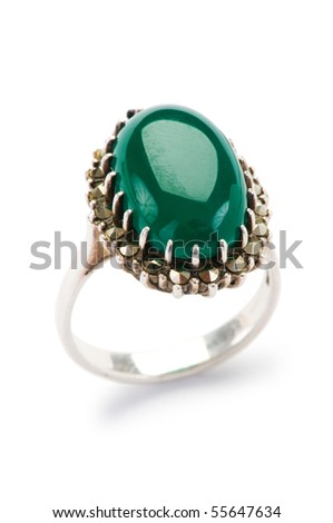 Jewellery ring isolated on the white background - stock photo