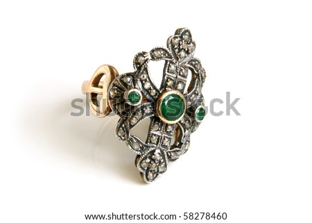 Jewellery ring on a white background - stock photo