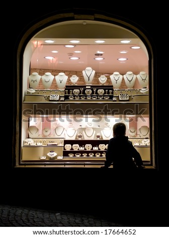 Jewellery shop window at night - stock photo