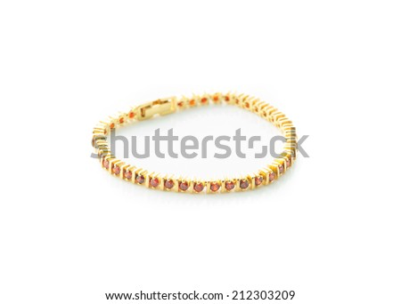Jewelry accessories - bracelet with sapphire on a white background - stock photo