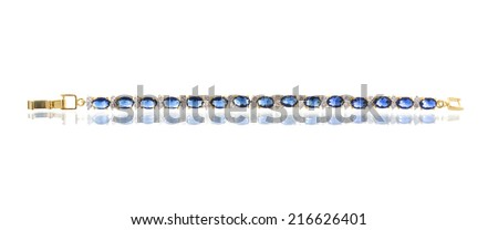 Jewelry accessories - bracelet with sapphire on a white background