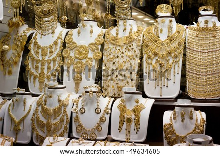 Jewelry at Dubai's Gold Souq - stock photo