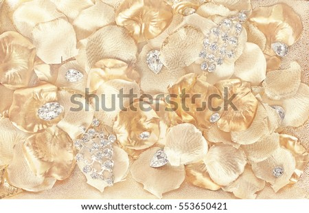 Jewelry background - crystals on gold petals