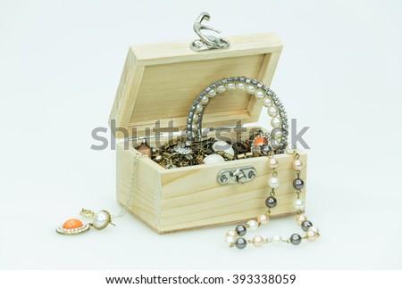 jewelry box on white background - stock photo