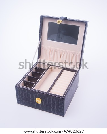 jewelry box or leather jewelery box on background