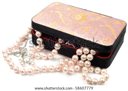 Jewelry box with pearl set and necklace - stock photo