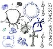 Jewelry collection. Black and blue ink. - stock photo