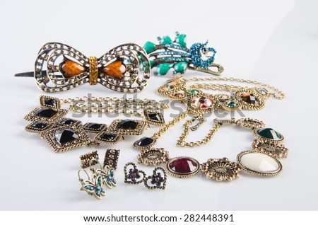 jewelry collection. jewelry collection on the background - stock photo