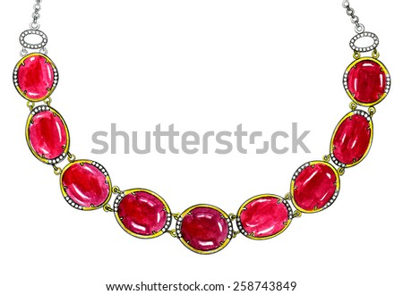 Jewelry Design Necklace. Hand Drawing and painting on paper. - stock photo