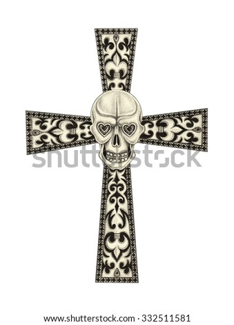 Jewelry design Skull cross mix vintage .Hand pencil drawing on paper. - stock photo