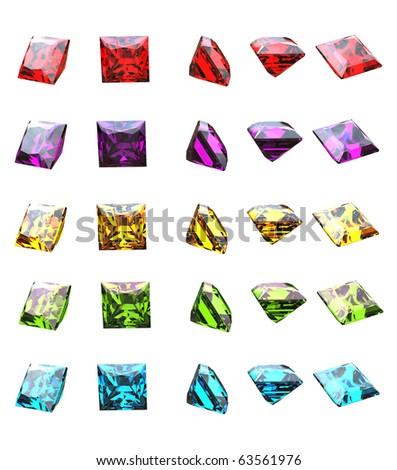 Jewelry gems shape of square on white background. - stock photo