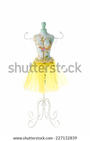 Jewelry hanging holder in dresses form - stock photo
