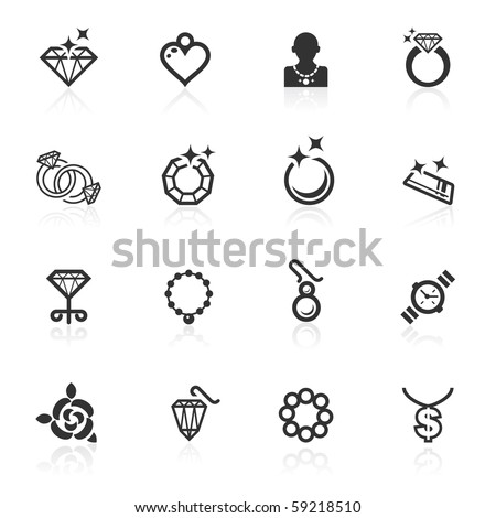 Jewelry  icons - minimo series - stock photo