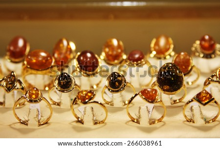 jewelry in store window, fashion picture - stock photo
