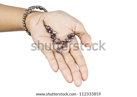 Jewelry in the hand of women.