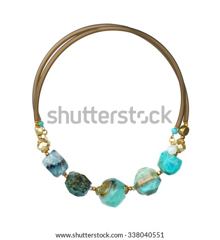 jewelry necklace with natural precious stones isolated on white, path - stock photo