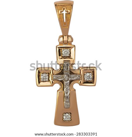 jewelry Orthodox cross isolated on white background