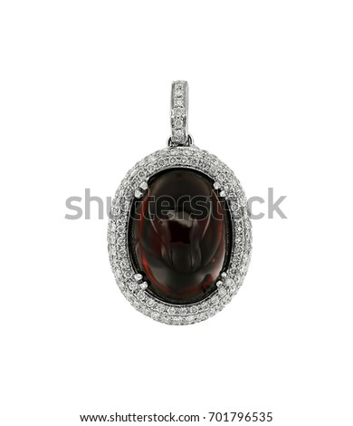 Jewelry pendant with dark red gemstone isolated on white.