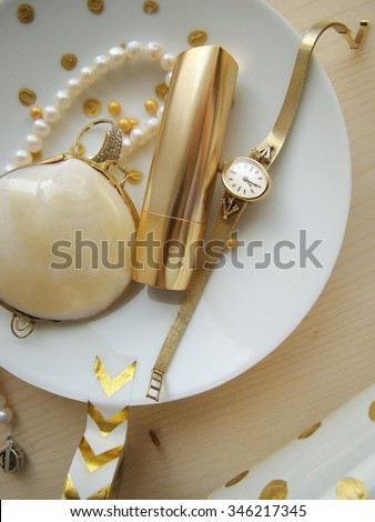 Jewelry set on the white background