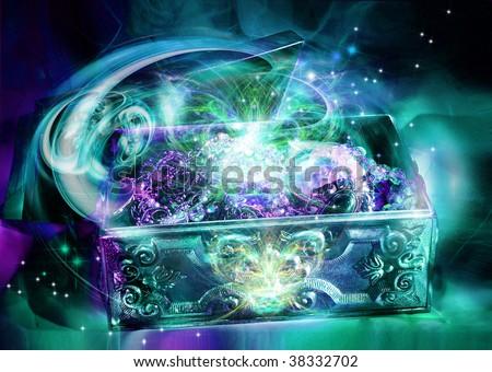 Jewelry silver box - stock photo