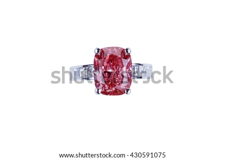 Jewelry silver ring with pink diamond on white background. Isolated - stock photo