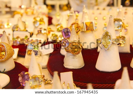 jewelry Store with rings taken in Firenze market - stock photo