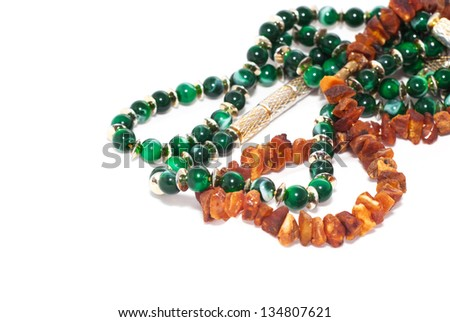 Jewelry with amber and emerald