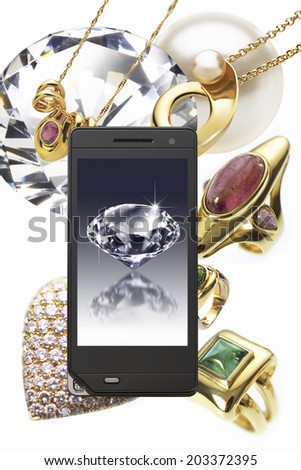 Jewels And Diamond In Mobile Screen