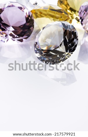 Jewels on white background, close up - stock photo