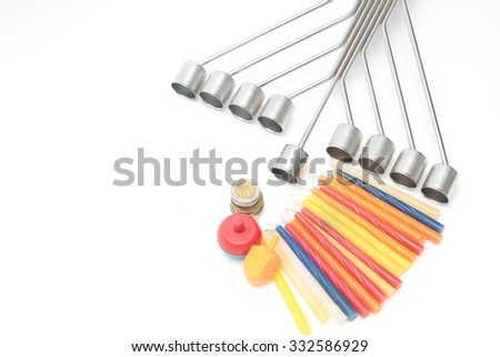 jewish holiday Hanukkah background with menorah candles, isolated on white background. - stock photo