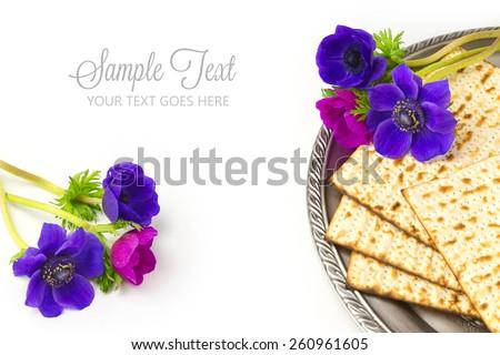 Jewish holiday passover matzo on white background - stock photo