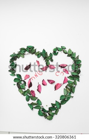 Jewish holidays set Israel holidays. Hanukkah, Purim, Pesach, Sukkot, Ros-Hashana, Shavuot, Sim hat-Torah. Perfect for your design  Holiday greeting card of the Jews, heart shape   ( colorful leaves ) - stock photo