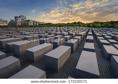 Jewish Holocaust Memorial, Berlin, Germany - stock photo