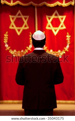 Jewish man at temple - stock photo