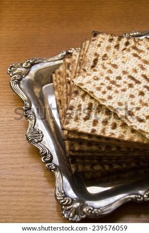 Jewish Matzot on Decorated Silver Plate.CloseUp  - stock photo