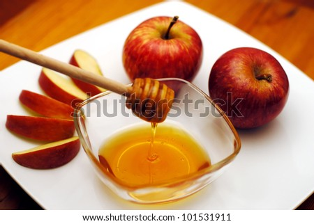 Jewish New Year - Rosh Hashanah - Apple and Honey. - stock photo