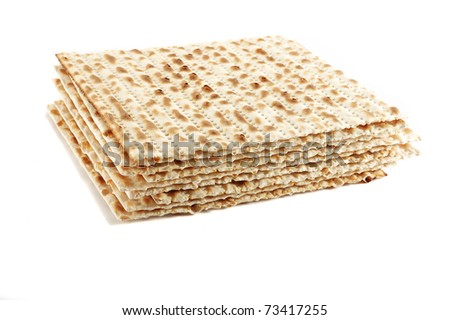 Jewish Passover holiday ritual food - matza on white background, isolated - stock photo