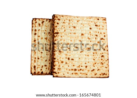 jewish passover matzah isolated on white