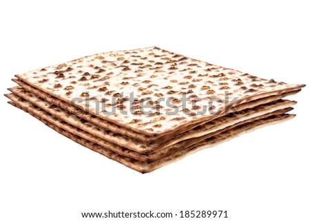 jewish passover matzah isolated on white - stock photo
