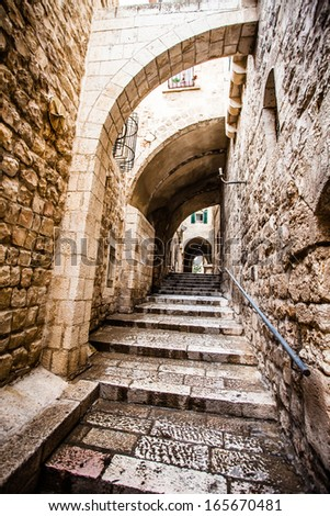 Jewish Quarter Streets on Jerusalem Old City.  - stock photo