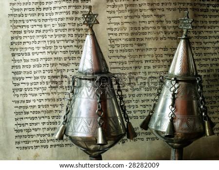 Jewish religious attributes - silver rimonim ( pomegranates ) - stock photo