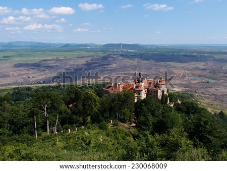 Jezeri castle and coal mine,Czech republic