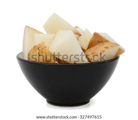 jicama on white background - stock photo